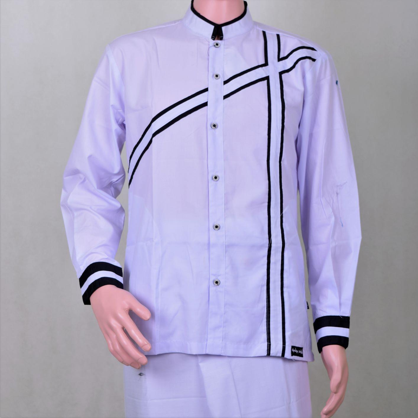 Fitur Baju Koko Pria Putih Motif List Berkualitas Keren Dan Kemeja Polos Kombinasi Garis Hitam Berwibawa