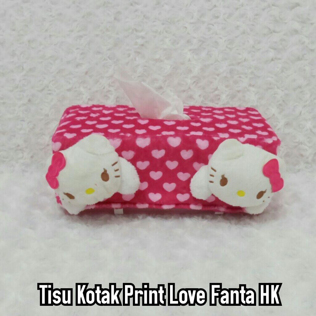 Tempat tisu mobil - cover tisu mobil print love fanta hellokitty putih