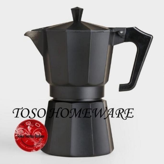 Black Matte Moka Pot Alumunium 6 Cup Mokapot Coffee Espresso Kopi - Dapurmamadina