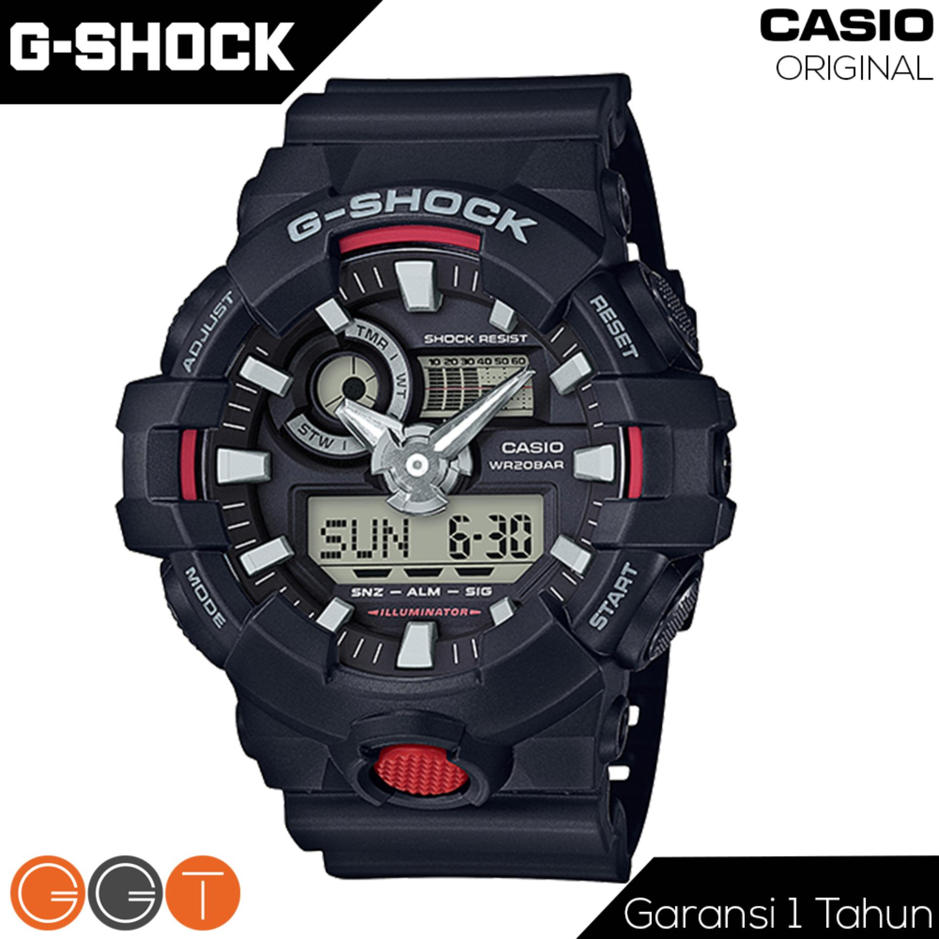 Spesifikasi Casio G Shock Dual Time Resin Starp Quartz Movement Jam Tangan Pria Ga 700 1A Red Casio G Shock