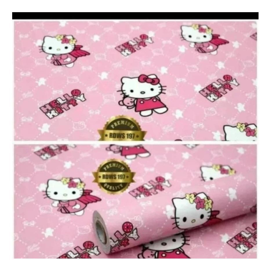 Toko Walpaper Stiker Dinding Motif Hello Kitty Pink Garis Garis Termurah