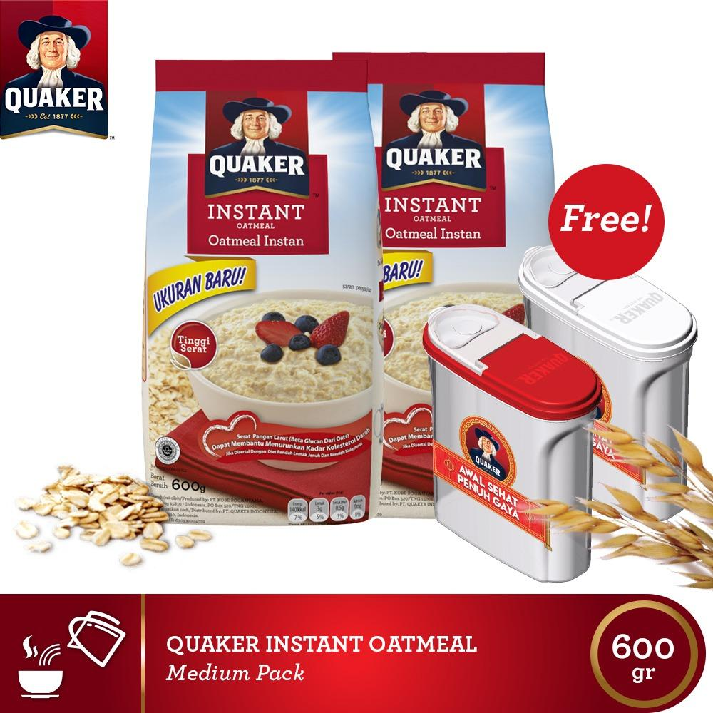 Promo Free 2 Food Container Quaker Instant Oatmeal Medium 600Gr 2 Pcs Quaker Terbaru