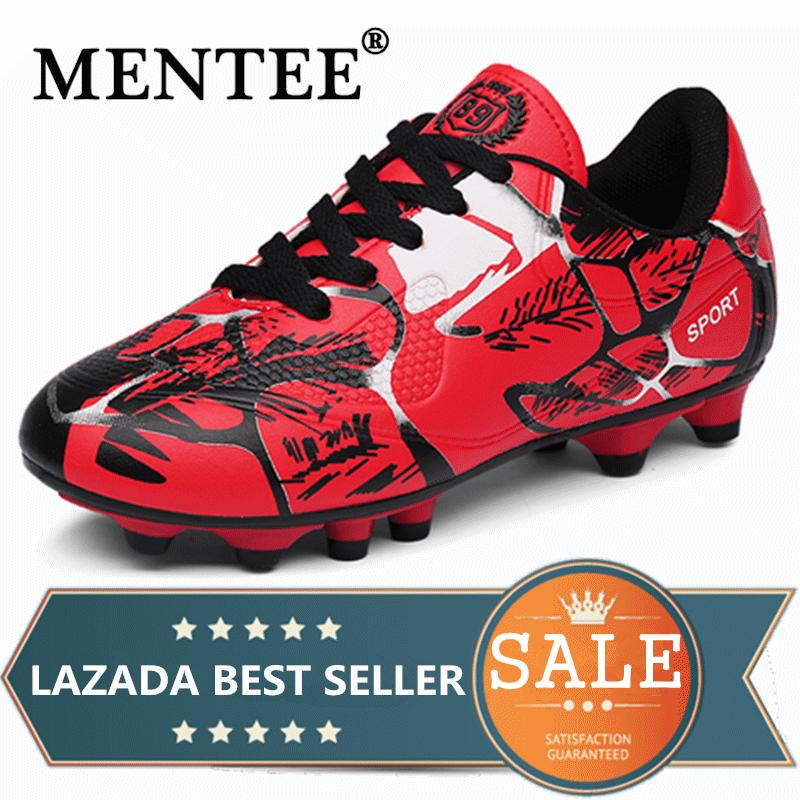 MENTEE Size 31-43 Breathable PU Men And Kids Soccer Shoes Long Spikes Anti-