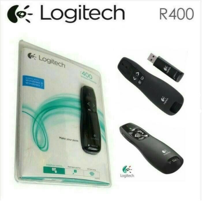 Logitech R400 Premium Wireless Presenter 2.4 GHz Pointer Red Laser Merah Receiver Remote Control Nirkabel Jarak Jauh 15 Meter Presentasi Power Point Presentation PPT for Windows Mac OEM