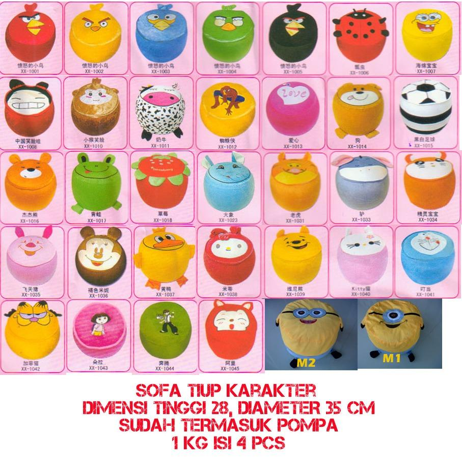 Sofa Kursi Angin Tiup Pompa Balon Karakter Angry Bird Hello Kitty Kids Chair Portable foldable unik