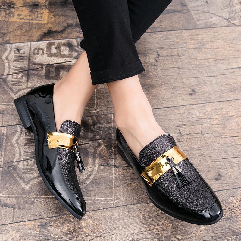 ORNGMALL Rumbai Kulit Paten Sepatu Pria Mewah Buisness Flats Mengkilap Gaun Laki-laki Sepatu Kantor
