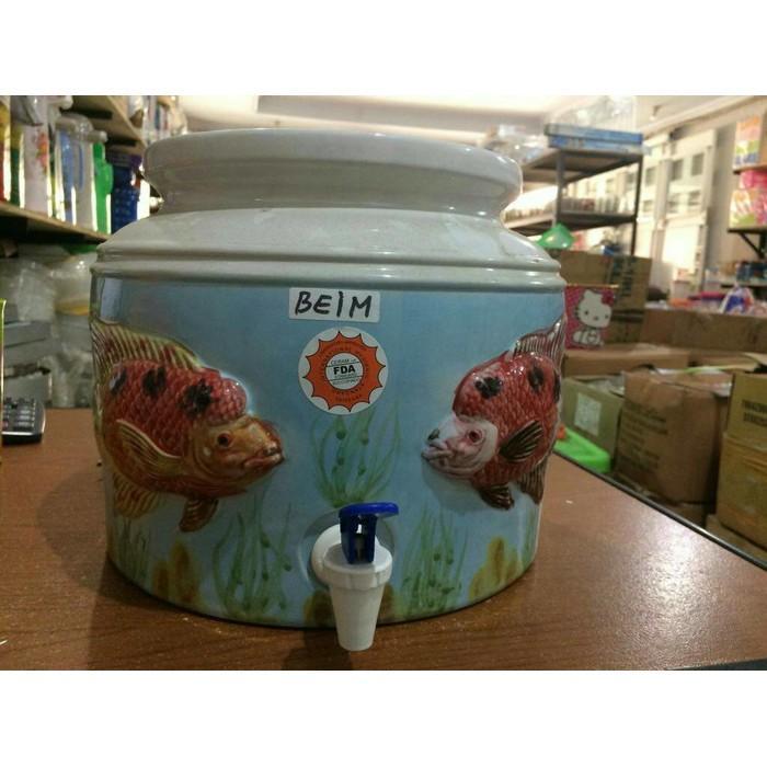 Water Dispenser Keramik / Guci Air Keramik Motif Timbul - Hy2qvd