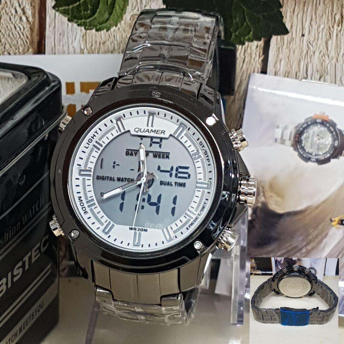 Jam Tangan quamer dual time import harga promo-pria