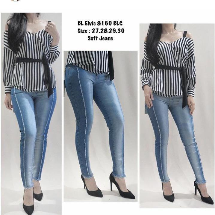 JHF - new jeans wanita kombinasi rawis samping