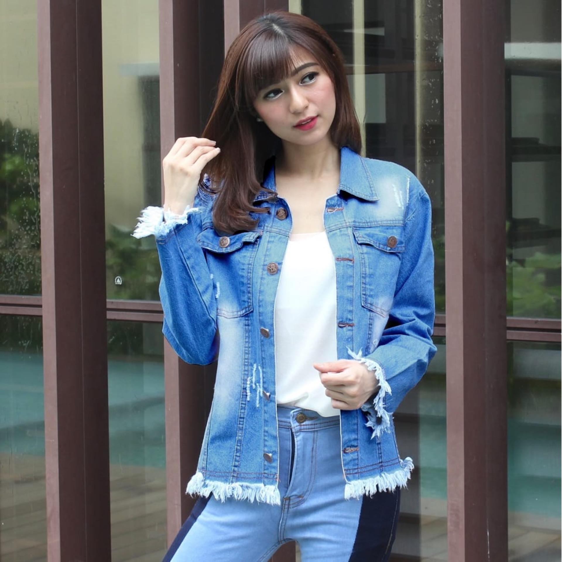 Cek Harga Baru Vrichel Jaket Blazer Jeans Wanita Big Size Cewe Premium Clara