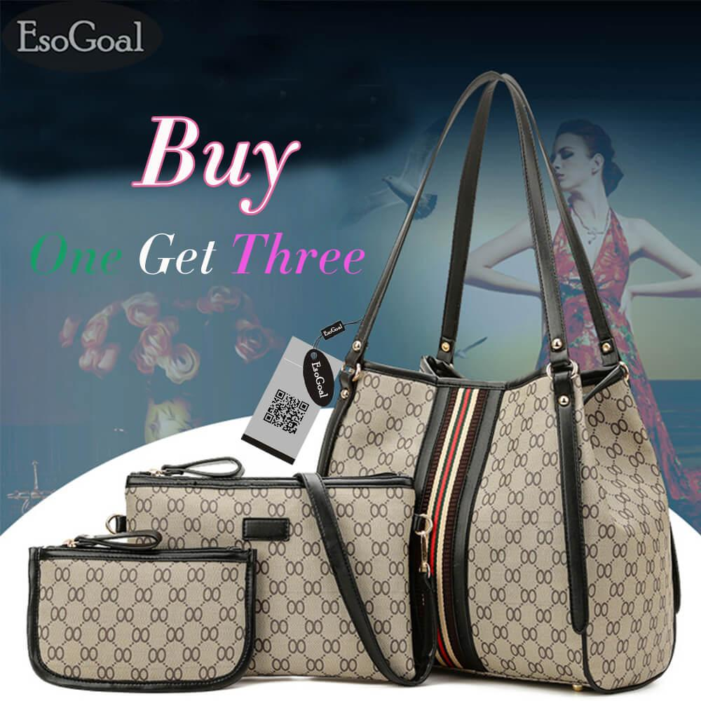 Esogoal Women Large Capacity Leather Purse Clutch Wallet Bifold Checkbook With Phone Pocket Diskon Tiongkok