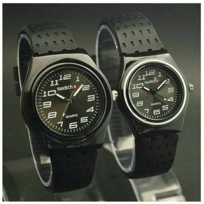 jam tangan couple swatch murah / jtr 966 hitam BEST SELLER