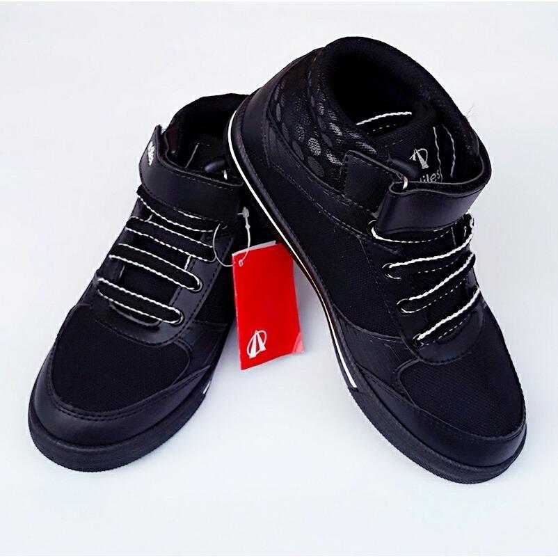 ... Sepatu sekolah Anak pria dan wanita AM-KVS-902 hitam garis putih - 3 ...