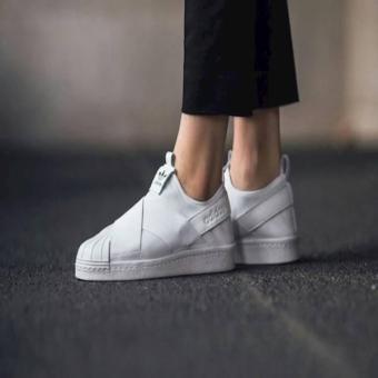 Pencarian Termurah Sepatu Wanita Cewek Adidas ORIGINAL Superstar Slip On  Full White Woman harga penawaran - 12e03cbd2a