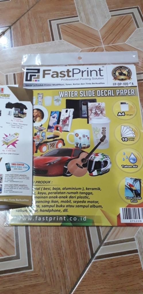 Fast Print Kertas Water Slide Decal Paper Transparan Ukuran A4 100 Gram | Lazada Indonesia