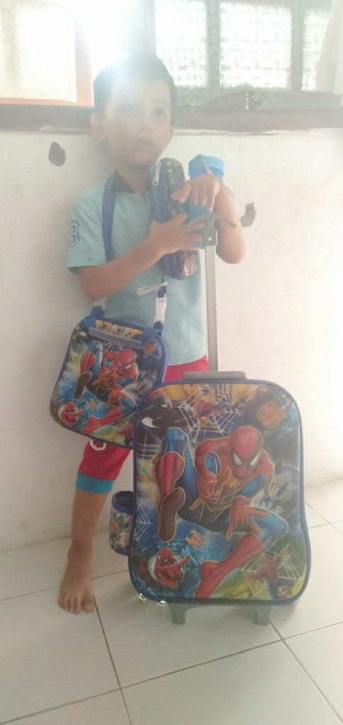 BGC Marvel Spiderman City Koper Set Troley T + Lunch Box + Kotak Pensil 3D Timbul Import Hard Cover Tas Anak Sekolah -