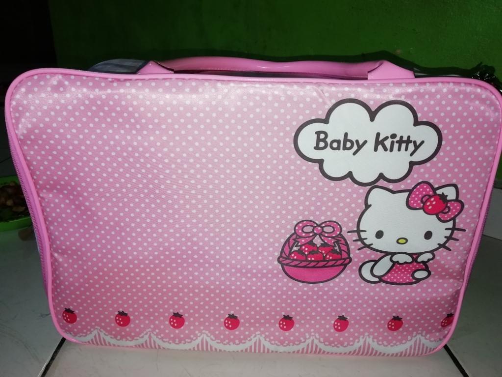 BGC Travel Bag Kanvas Hello Kitty 2 Sisi Bahan Halus Kitty Bee   Lazada Indonesia