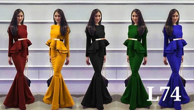 Lihat Tokosolo L74 Super Mermaid Long Dress Beauty Belt Dress Duyung