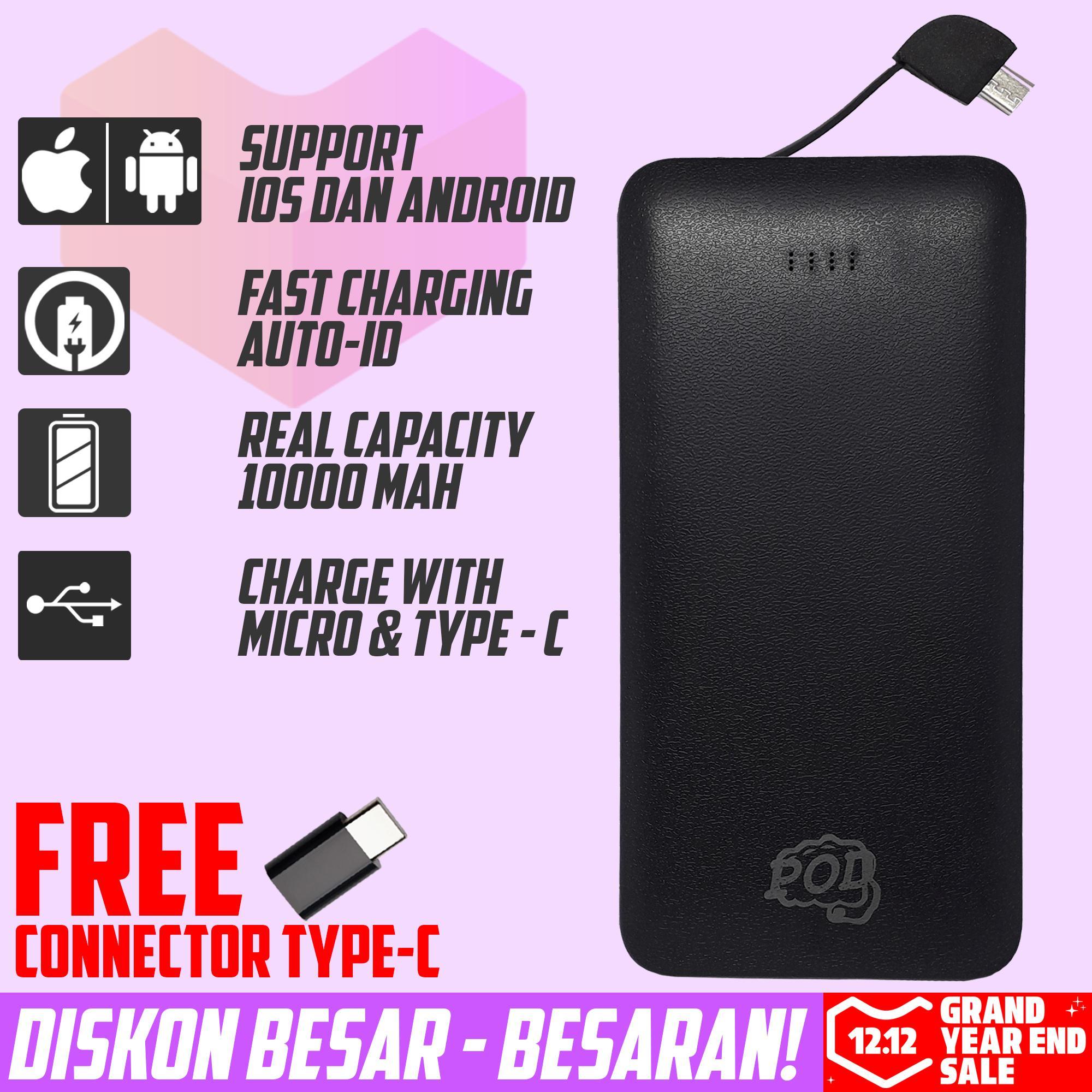 garansi paling  powerbank 10000mah real capacity connector type – c fast charging pod series premium quality