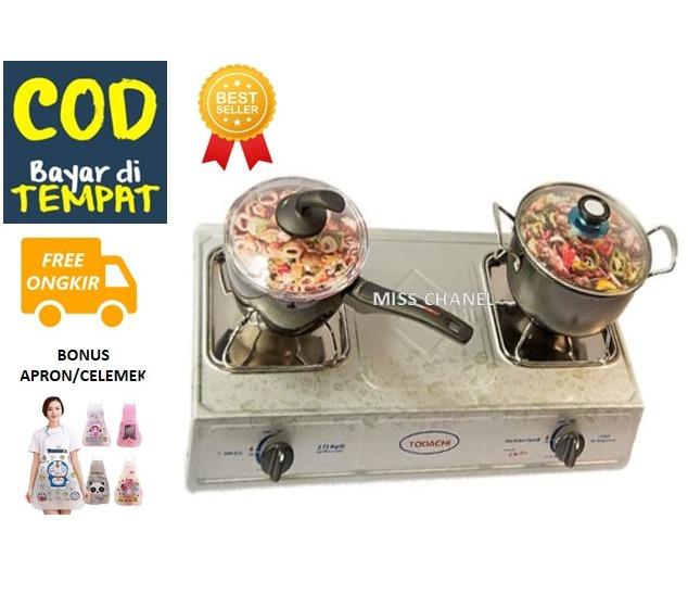miscenel kompor gas todachi 2 tungku t-2000 – promo bonus apron masak