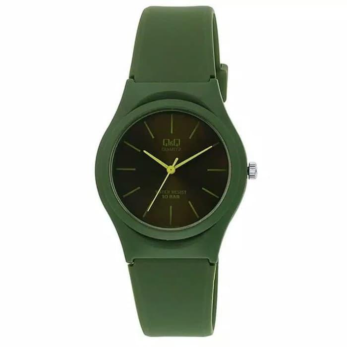 q&q jam tangan wanita original – hitam – rubber strap – q&q-7281-hg bonus baterai