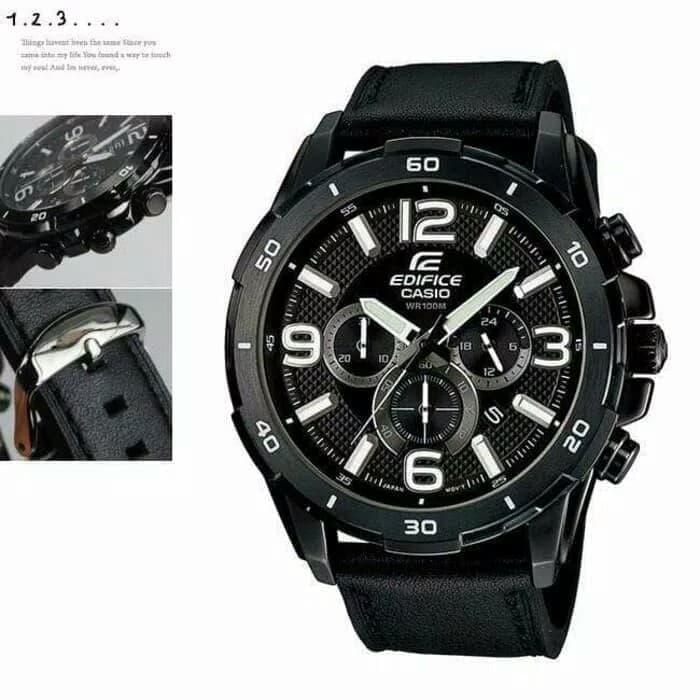 Casio Edifice EFR-538BK-1AV Jam Tangan Kasual Pria With Chrono Aktif - Leather