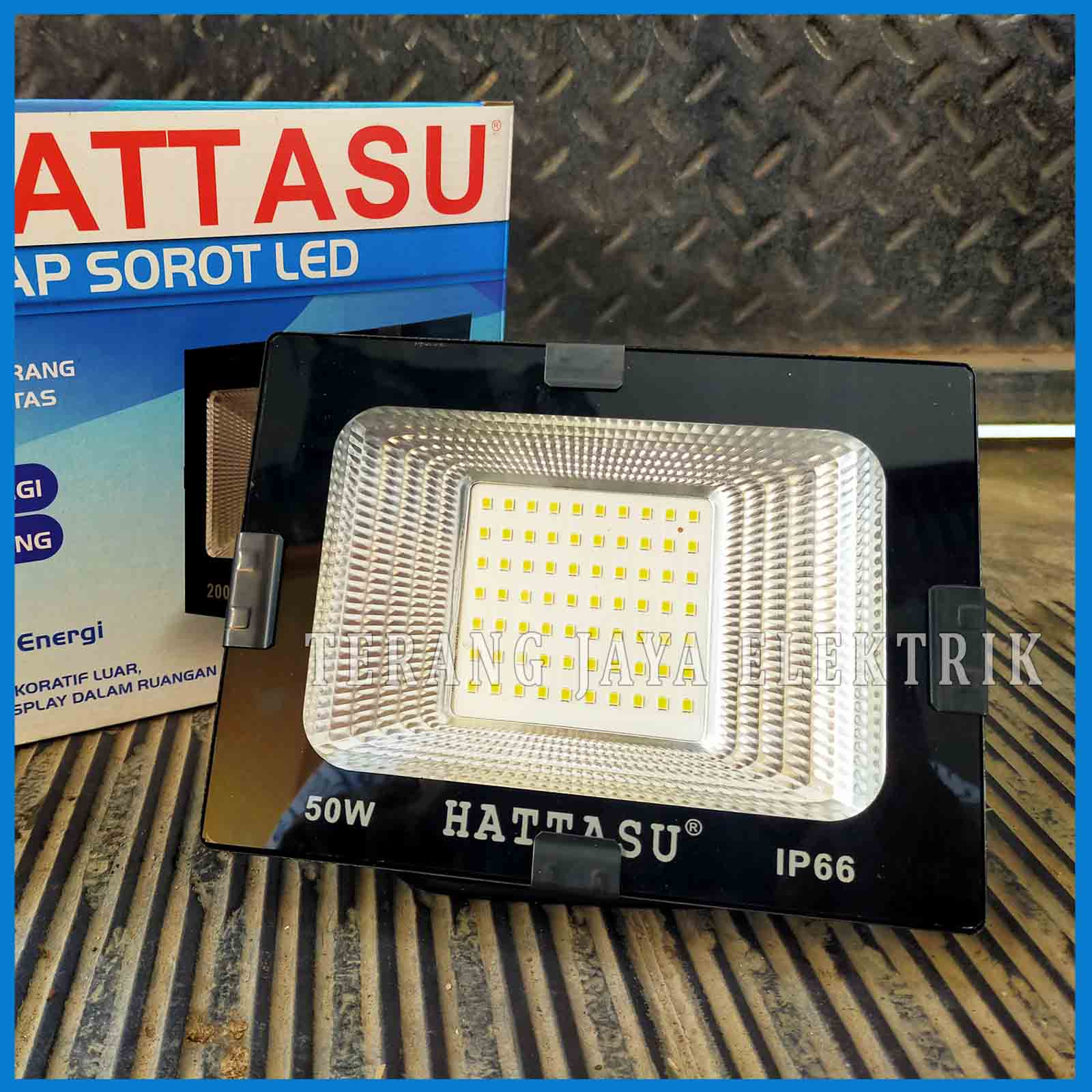 lampu sorot / lampu tembak / flood light led 50watt putih ip66 hattasu