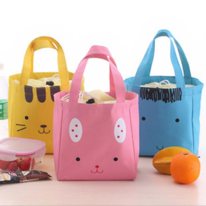 Aoli tas lunch bag cute animal kartun biru pink kuning kanvas 013bta