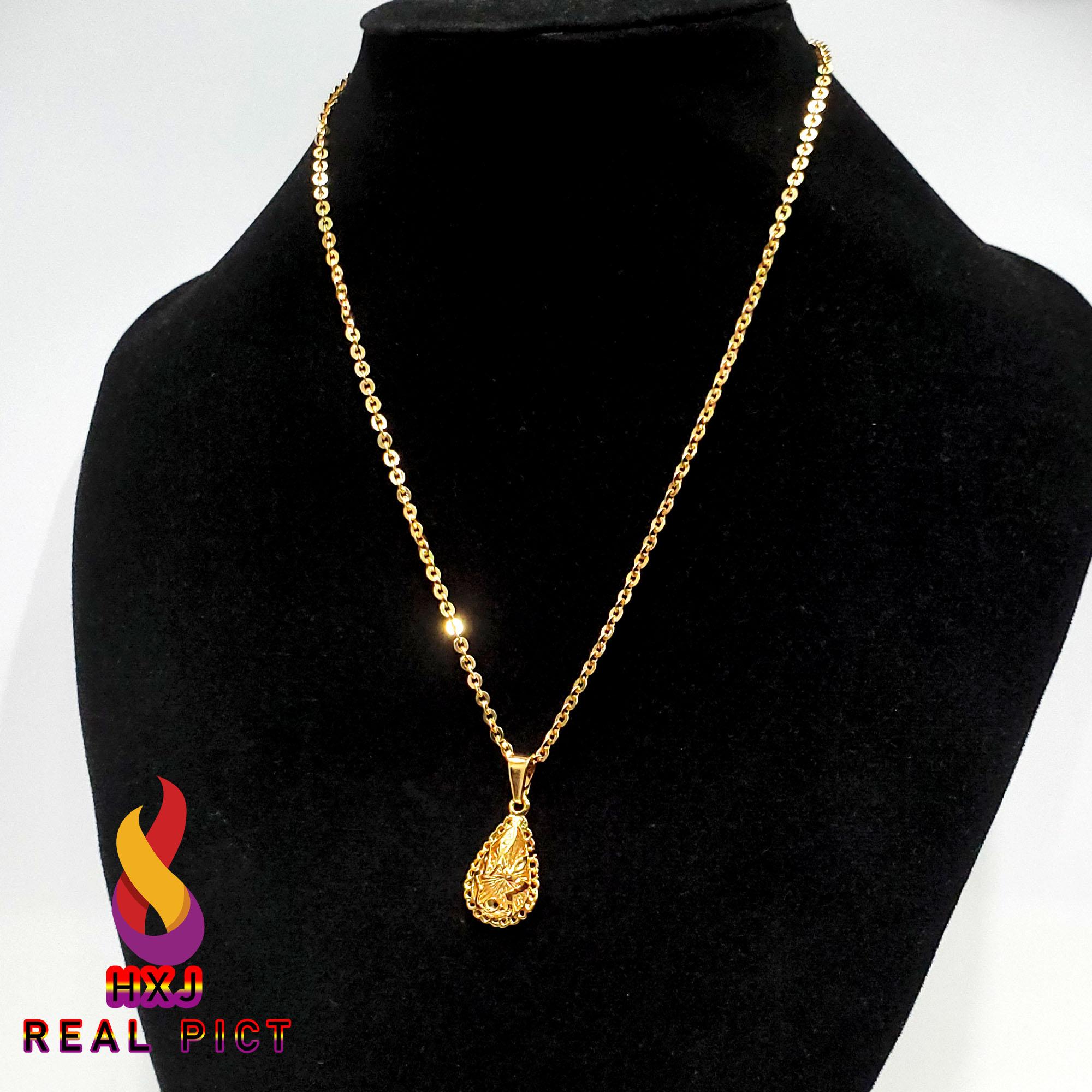 xuping kalung 24k nuri motif liontin dubai oval bintang langit – lapis emas dewasa 45 cm