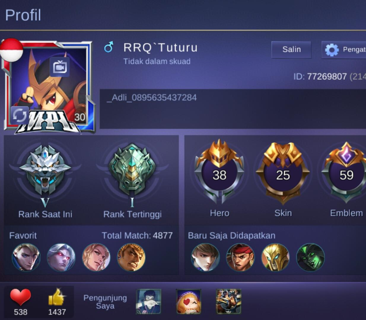 Akun Mobile Legends : bang bang