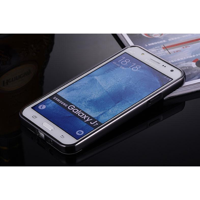 Aluminium Bumper Hardcase with Mirror Back Cover for Samsung Galaxy J7 2015 - Black - 2 ...