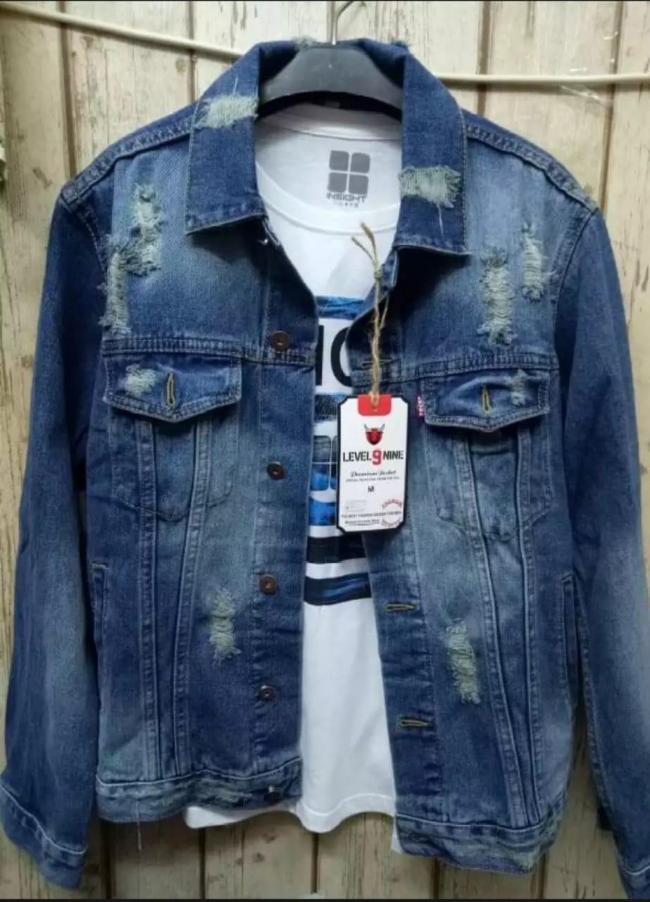 khacio shop//bayar tempat// jaket jeans pria sobek bahan denim atasan casual fashion