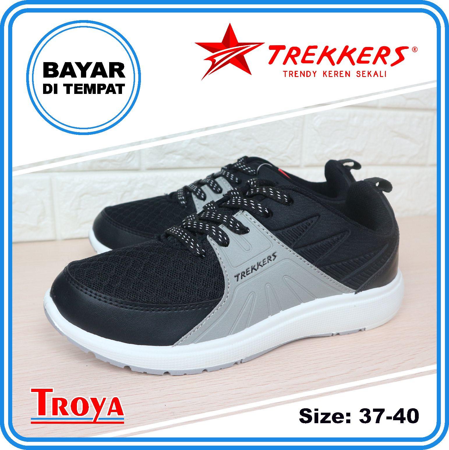 troya – trekkers sepatu lari wanita original arise hitam abu 37-40 / sneakers wanita / sepatu olahraga / sepatu fashion santai /  sepatuwanita  troyastore