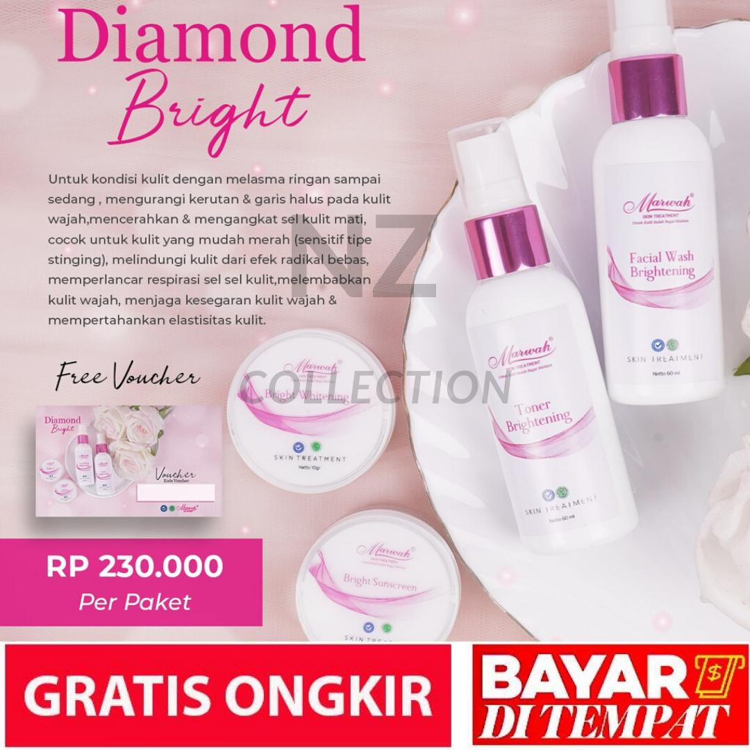 [free voucher e clinic] paket marwah diamond bright – cream pemutih wajah – marwah skincare – marwah diamond bright marwah skincare halal & bpom