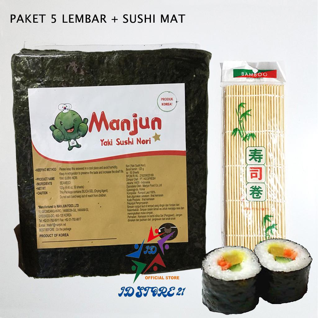 paket nori manjun 5 lembar yaki sushi manjun nori rumput laut seaweed 10 sheet