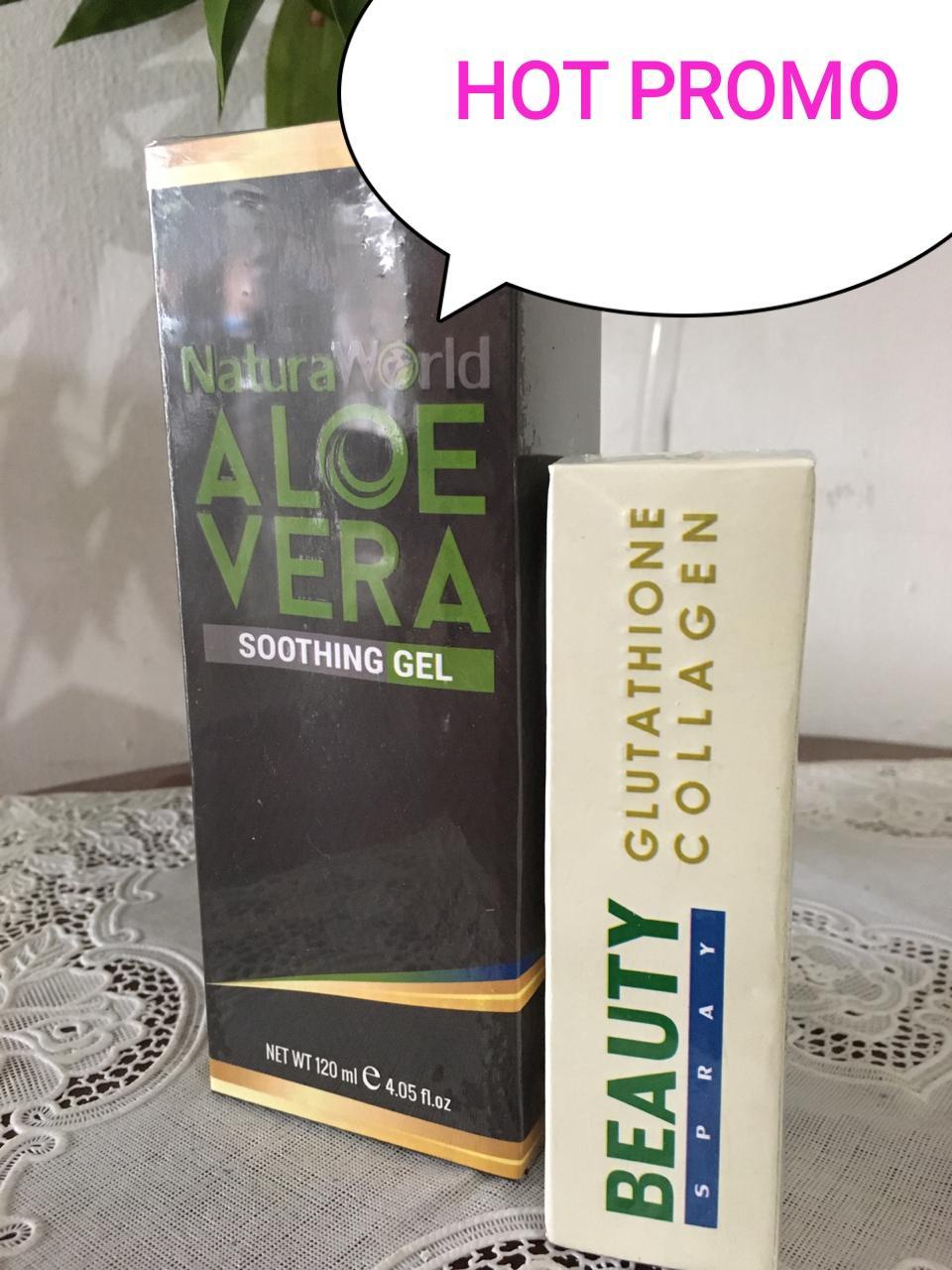 promo  paket 2 in 1 natura world / aloevera gel 1pcs & spray beauty 1pcs /promo obat jerawat / serum kecantikan / serum perawatan wajah / natura world beauty spray & aloevera gel original / / ekspress / natura world aloe vera soothing/ ori m