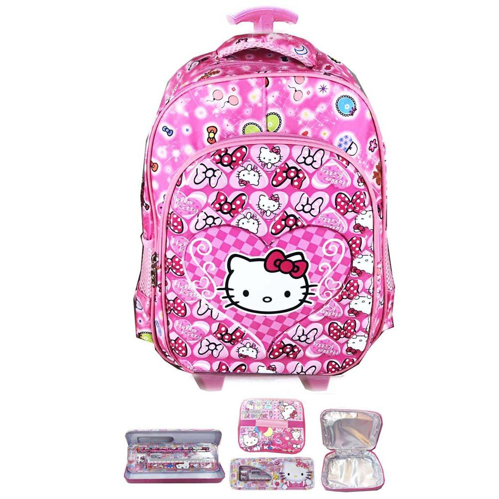 BGC Tas Troley Sekolah Anak TK Hello Kitty Love IMPORT High Quality + Lunch Bag Aluminium