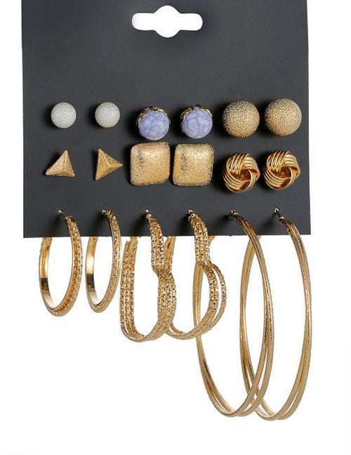 Detail Gambar LRC Anting Set Fashion Gold Color Circular Ring Design Earrings(18pcs) Terbaru