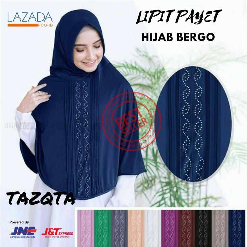 Review Tazqta Jilbab Instan Bergo Payet Dengan Pad Busa Antem