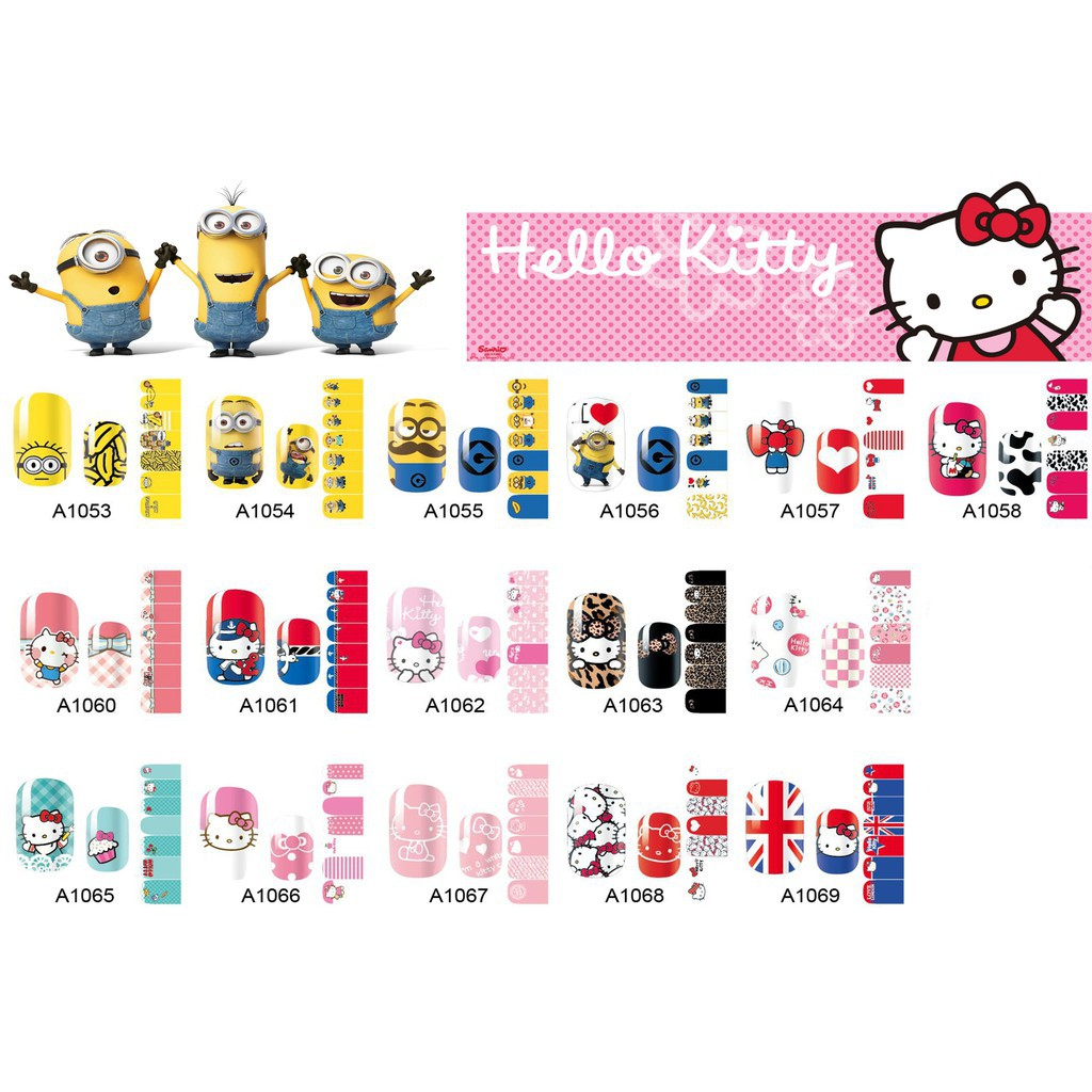 hello kitty nail sticker kuku / stiker kuku / nail art sticker cartoon minions mickey doraemon cute