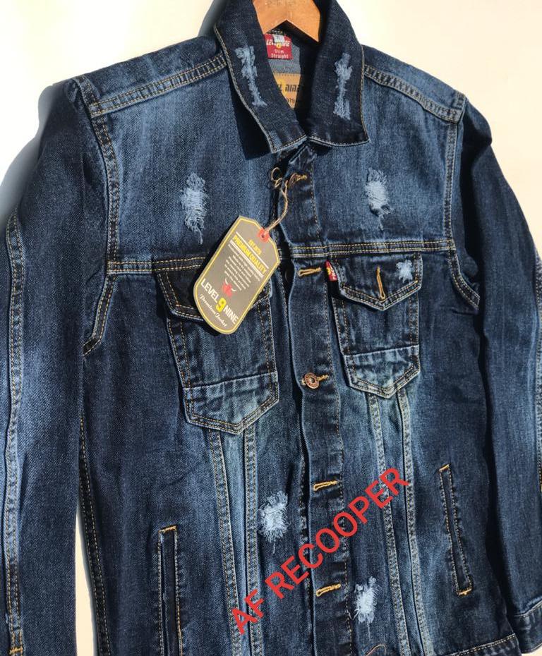 cod/promo /jaket jeans denim /jaket levis jeans pria sobek bahan denim atasan casual fashion //af recooper