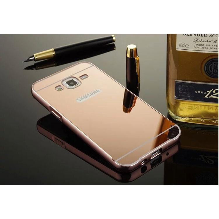 Aluminium Bumper with Mirror Back Cover for Samsung Galaxy J5 2015 - Rose Gold - 2 ...