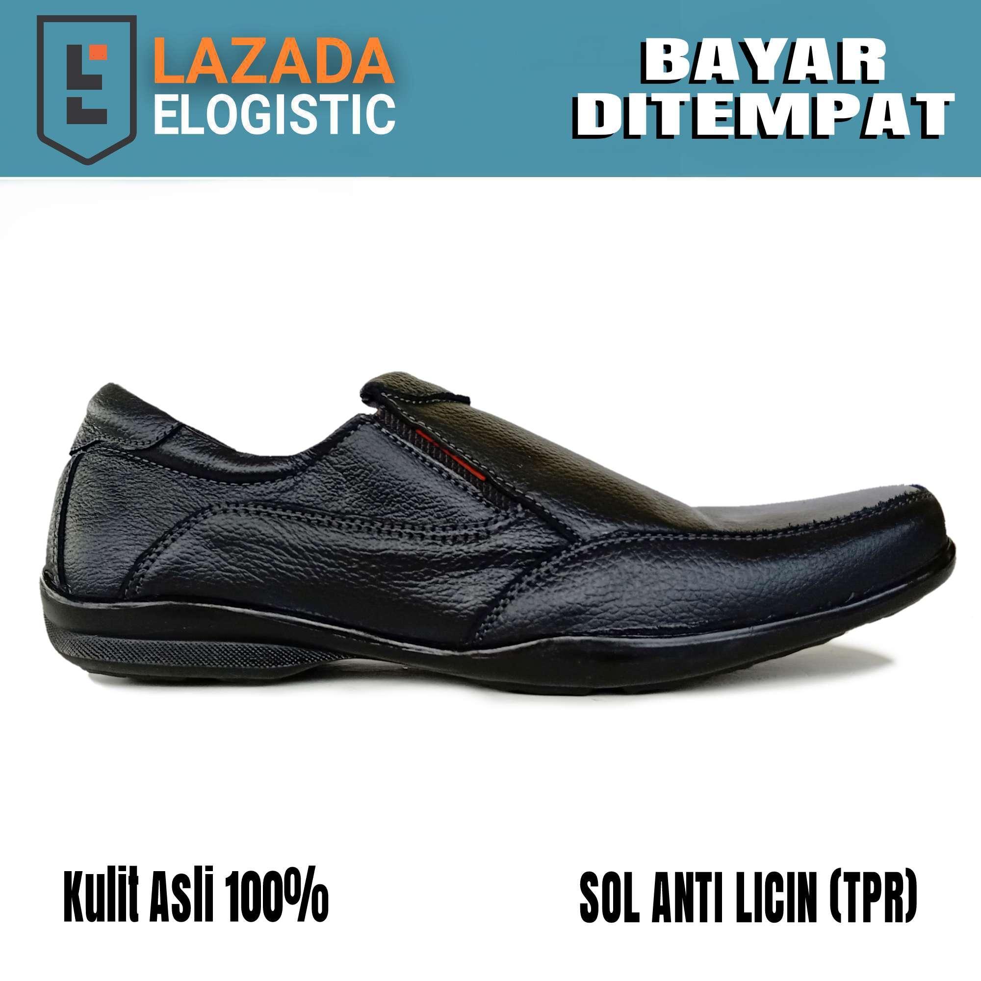 sepatu formal casual pria kulit asli anti slip / sepatu pantofel pria kulit asli / sepatu kulit asli / sepatu kerja pantofel hitam kulit asli / gatio gt01