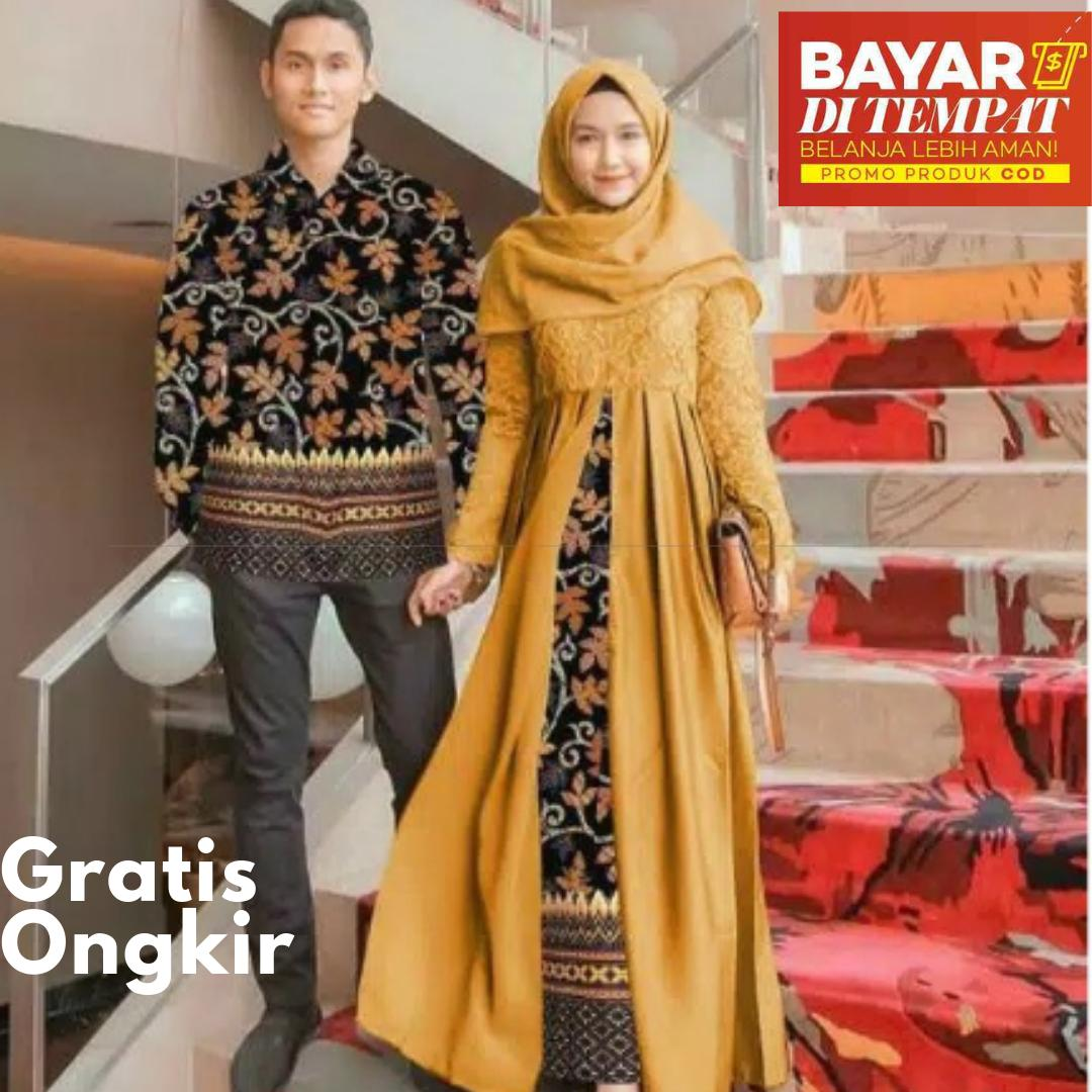mw cod setelan gamis kebaya pesta brukat couple modern + kemeja batik pria seragam kebaya batik pesta set pasangan premium mewah fashion kebaya kondangan nikahan muslimah hijaber muslim couple  kebaya wisuda remaja wanita brokat ihendah