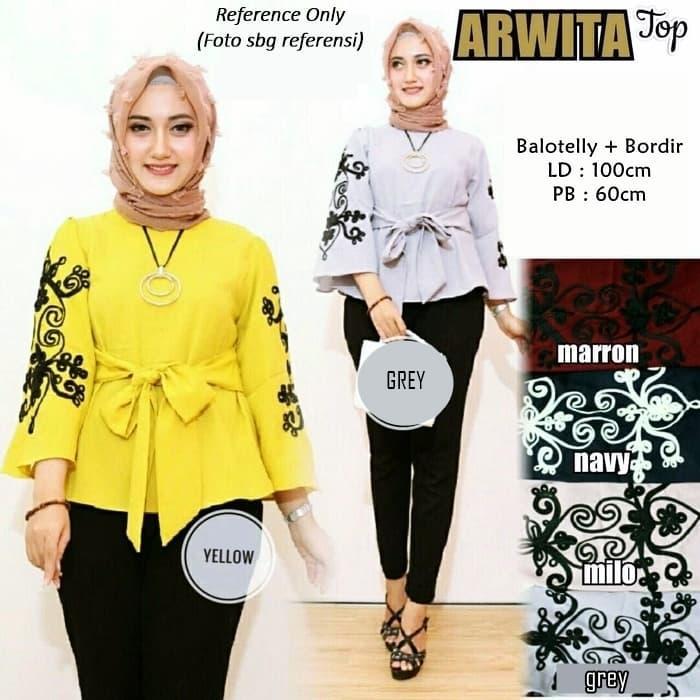 th arwita top atasan muslim tunik blouse baju tunikbaju long tunic top muslim muslim modern terpopuler