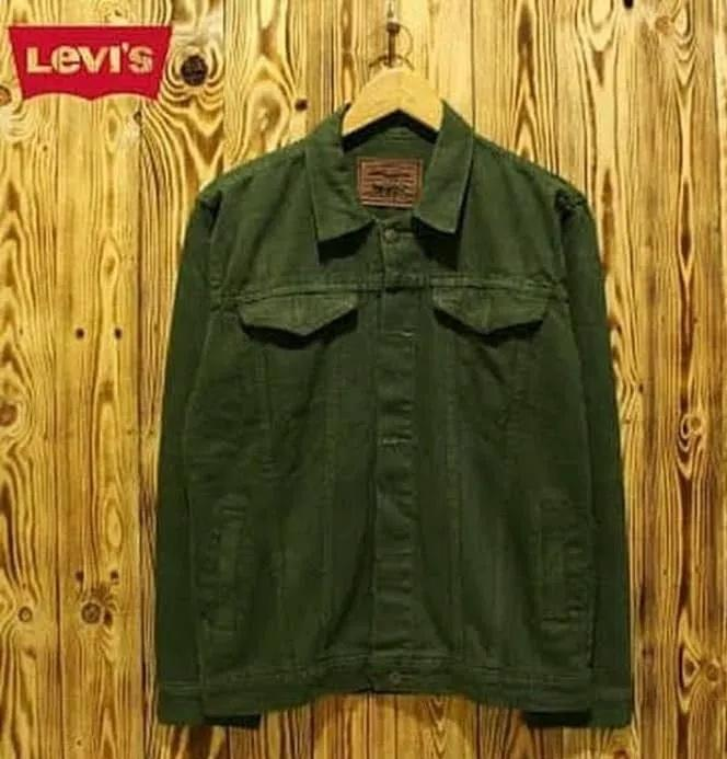 Jaket jeans pria jaket denim levis warna hijau army Lagi Laris
