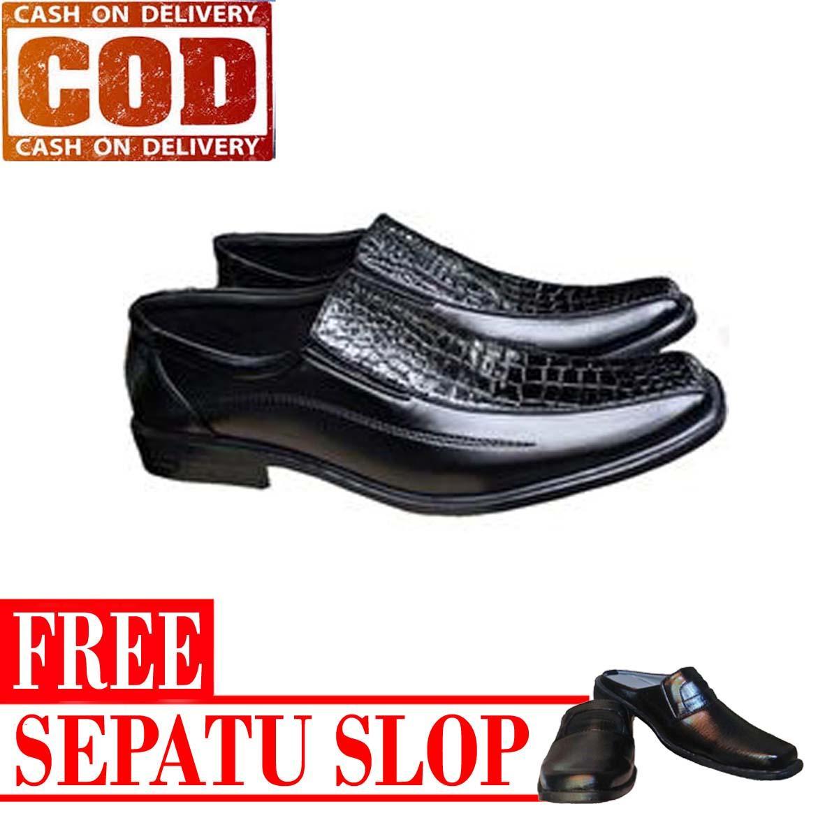 Sepatu Kulit Pria Pantofel Formal Kerja Kantor Kombinasi Kulit Buaya Free Sepatu Slop - Hitam