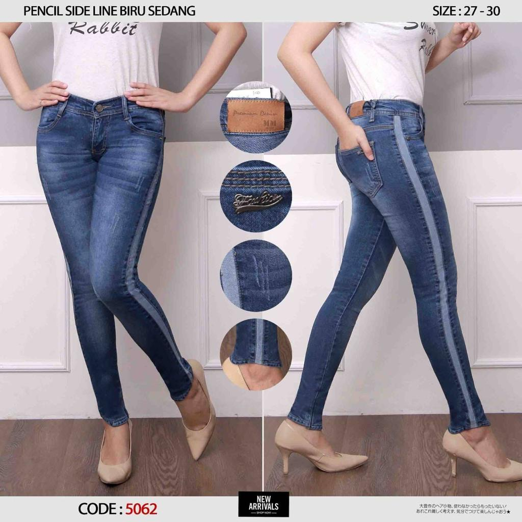 ✅ready bia – celana jeans slice wisker blue premium quality model