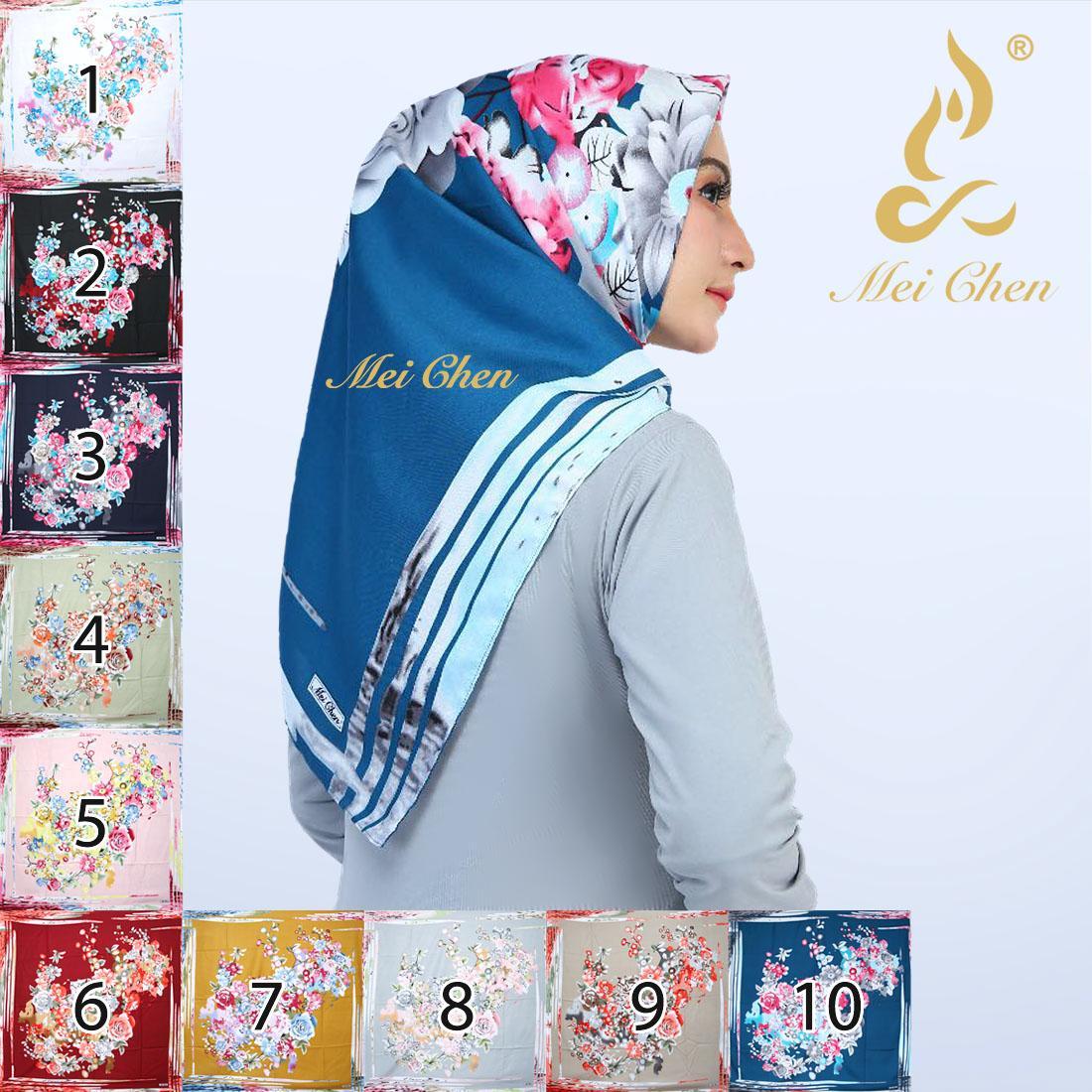 mei chen abstrak bunga motif hijab jilbab kerudung segi empat square