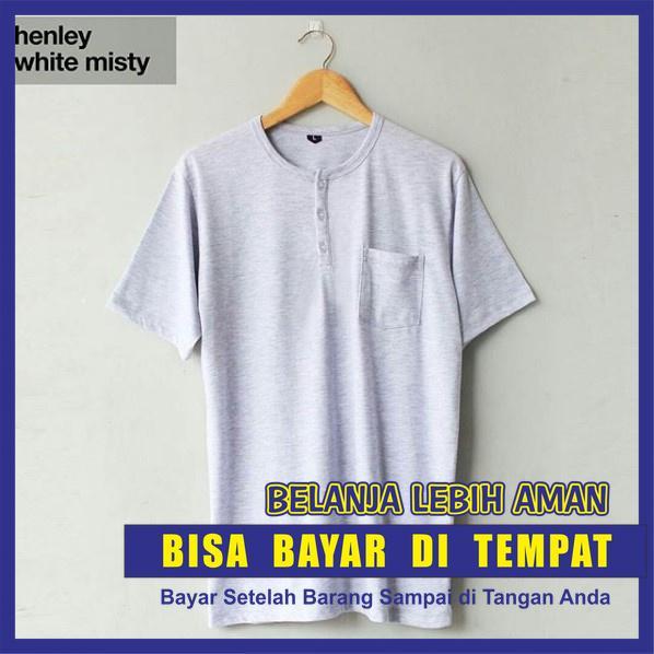 Baju Kaos Polos HENLEY WHITE MISTY Lengan Pendek / Kaos Polos Kancing Saku Putih Misti Tangan